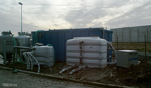 Mobile groundwater remediation container (biological treatment and active carbonfilter)