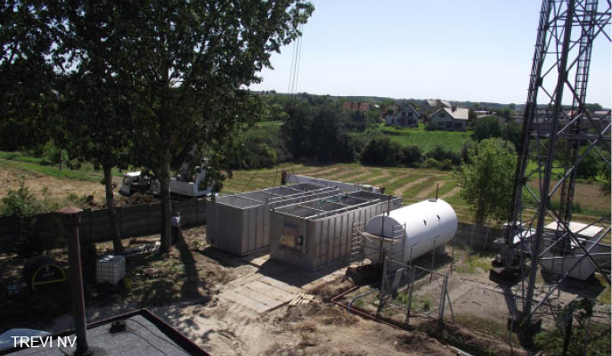 Biological water treatment in mobile containers