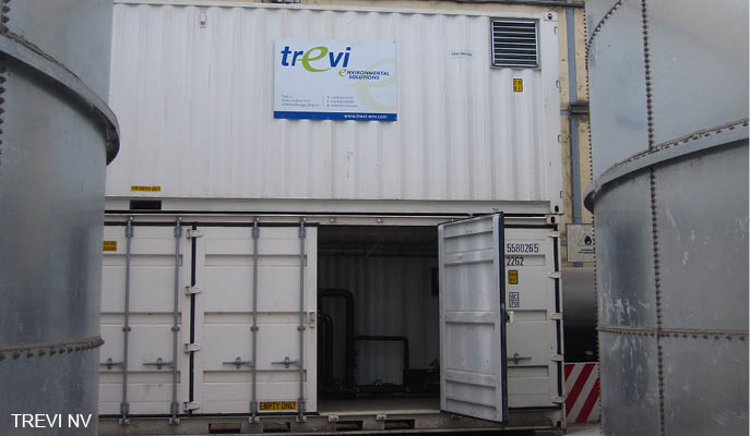 Physicochemical treatment terminal waste water in containers